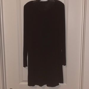 BCBGMaxAzria Black Cotton Long Sleeve Dress - M